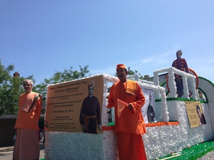 Float with cutout of Swamiji at the Indian Independence Day procession
