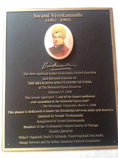 Plaque commemorating Swamiji's visit to Indiana